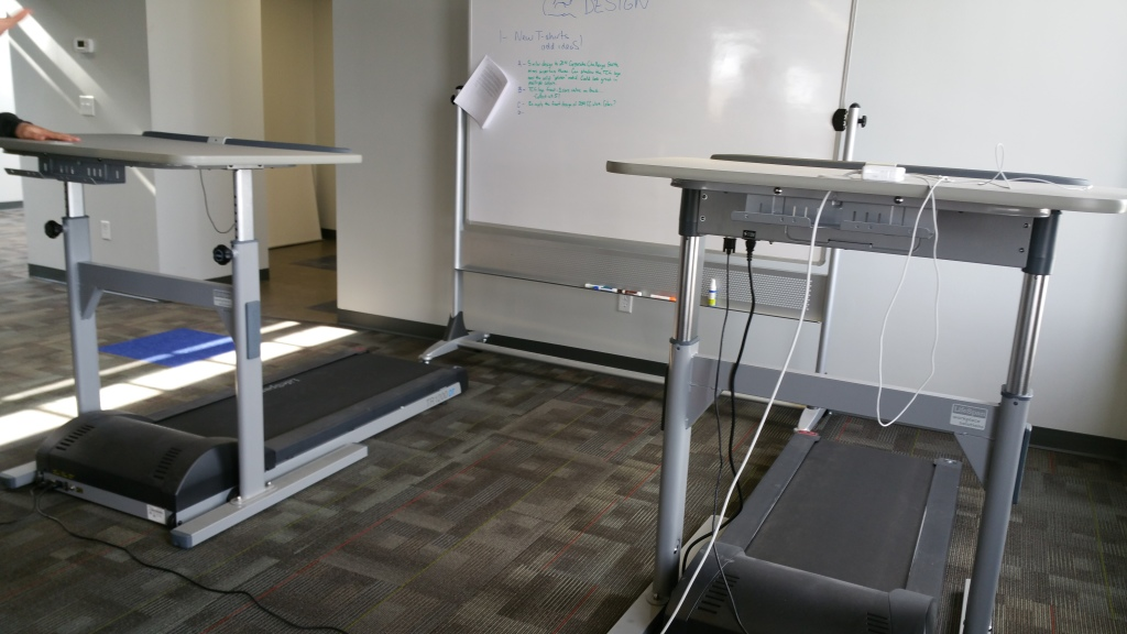 I wonder if these can be adjusted to face each other... Card games on treadmills?
